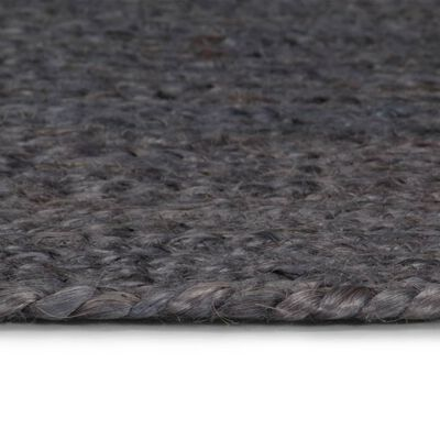 vidaXL Vloerkleed handgemaakt rond 120 cm jute donkergrijs