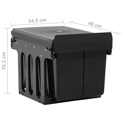 vidaXL Inbouwprullenbak uittrekbaar soft-close 48 L