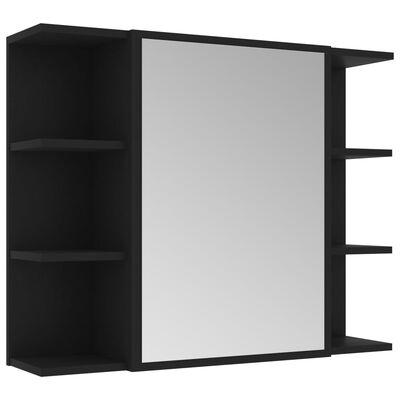 vidaXL 4-delige Badkamermeubelset spaanplaat zwart