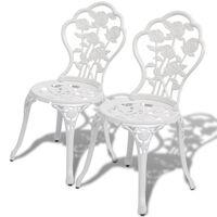 vidaXL Bistrostoelen 2 st gegoten aluminium wit