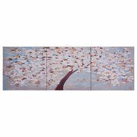 vidaXL Wandprintset bloeiende boom 120x40 cm canvas meerkleurig