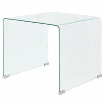 vidaXL Salontafel transparant 49,5x50x45 cm gehard glas