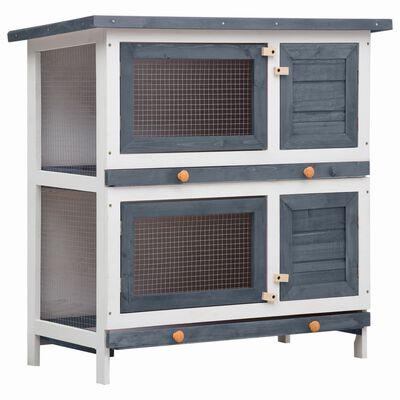 vidaXL Konijnenhok voor buiten met 4 deuren hout grijs