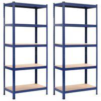 vidaXL Opbergrekken 2 st 80x40x180 cm staal en MDF blauw