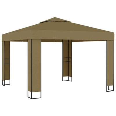 vidaXL Prieel met dubbel dak 180 g/m² 3x3x2,7 m taupe