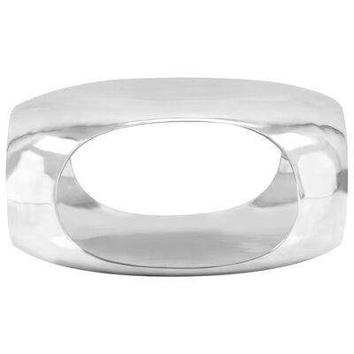 vidaXL Salontafel 70x70x32 cm gegoten aluminium zilverkleurig