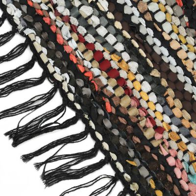 vidaXL Vloerkleed chindi handgeweven 120x170 cm leer meerkleurig