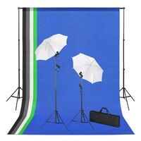 vidaXL Fotostudioset met achtergronden, lampen en paraplu's