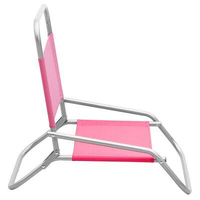 vidaXL Strandstoelen 2 st inklapbaar stof roze
