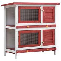 vidaXL Konijnenhok voor buiten met 4 deuren hout rood