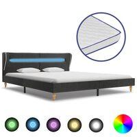 vidaXL Bed met LED en traagschuim matras jute donkergrijs 160x200 cm