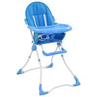 vidaXL Kinderstoel hoog blauw en wit