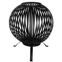 Esschert Design Vuurkorf balvormig strepen koolstofstaal zwart FF400