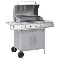 vidaXL Gasbarbecue 4+1 kookzone roestvrij staal zilverkleurig