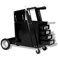 vidaXL Lastrolley met 4 lades zwart