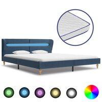 vidaXL Bed met LED en traagschuim matras stof blauw 180x200 cm