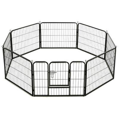 vidaXL Hondenren met 16 panelen 60x80 cm staal zwart