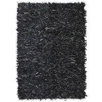 vidaXL Tapijt shaggy hoogpolig 190x280 cm echt leer grijs
