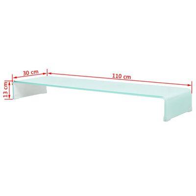 vidaXL TV-meubel/monitorverhoger wit 110x30x13 cm glas