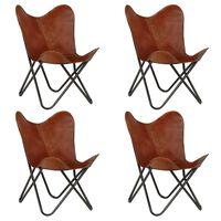 vidaXL Vlinderstoelen 4 st kindermaat echt leer bruin