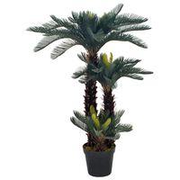 vidaXL Kunstplant met pot cycaspalm 125 cm groen