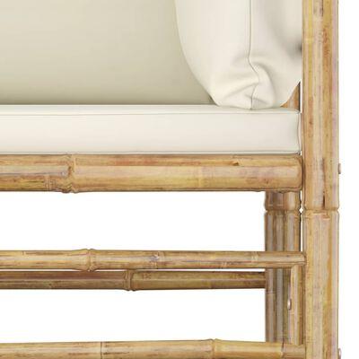 vidaXL 6-delige Loungeset met crèmewitte kussens bamboe