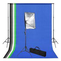 vidaXL Fotostudioset met achtergrond en softboxlamp