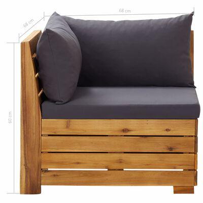 vidaXL 5-delige Loungeset met kussens acaciahout donkergrijs