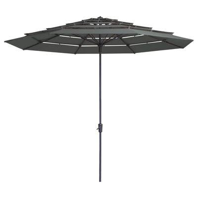 Madison Parasol Syros open structuur rond 350 cm grijs