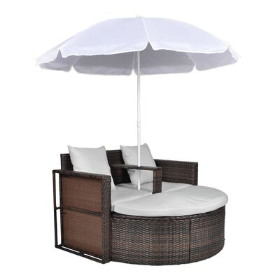 vidaXL Tuinbed met parasol poly rattan bruin