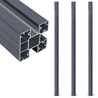 vidaXL Schuttingpalen 3 st 185 cm aluminium donkergrijs