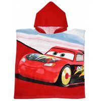 badponcho Cars junior 50 x 100 cm katoen rood