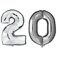 20 jaar zilveren folie ballonnen 88 cm leeftijd/cijfer -