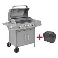 vidaXL Gasbarbecue 6+1 kookzone zilver