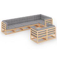 vidaXL 8-delige Loungeset met kussens massief grenenhout
