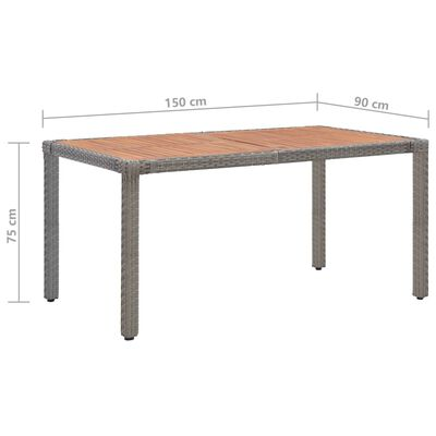 vidaXL Tuintafel 150x90x75 cm poly rattan en massief acaciahout grijs
