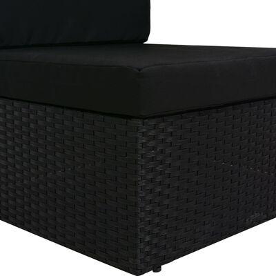 vidaXL Driezitsbank sectioneel poly rattan zwart