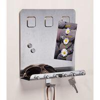 HI Memobord met sleutelhouders 28,5x25x8 cm zilverkleurig