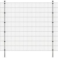 vidaXL Dubbelstaafmatten en palen 2008x2030 mm 20 m zilverkleurig