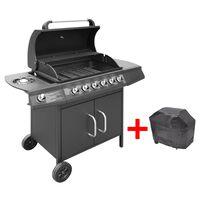 vidaXL Gasbarbecue 6+1 kookzone zwart