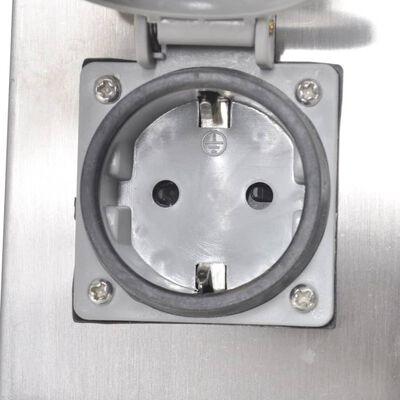 vidaXL Buitenstopcontact op zuil roestvrij staal