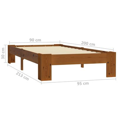 vidaXL Bedframe massief grenenhout lichtbruin 90x200 cm