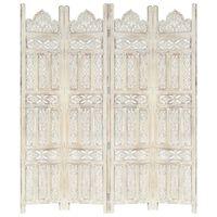 vidaXL Kamerscherm met 4 panelen handgesneden 160x165 cm mangohout wit