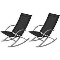 vidaXL Tuinschommelstoelen 2 st staal en textileen zwart