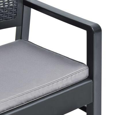 vidaXL 4-delige Loungeset met kussens kunststof antraciet