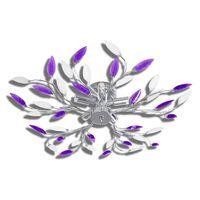 vidaXL Lamp met kristallen bladeren van acryl voor 5x E14 paars en wit