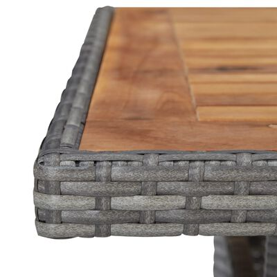 vidaXL Tuintafel poly rattan en massief acaciahout grijs