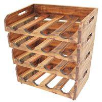 vidaXL Wijnrekken voor 16 flessen 4 st massief gerecycled hout
