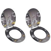 vidaXL Toiletbrillen met deksels 2 st New York MDF
