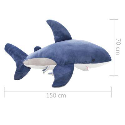 vidaXL Knuffel witte haai pluche blauw en wit